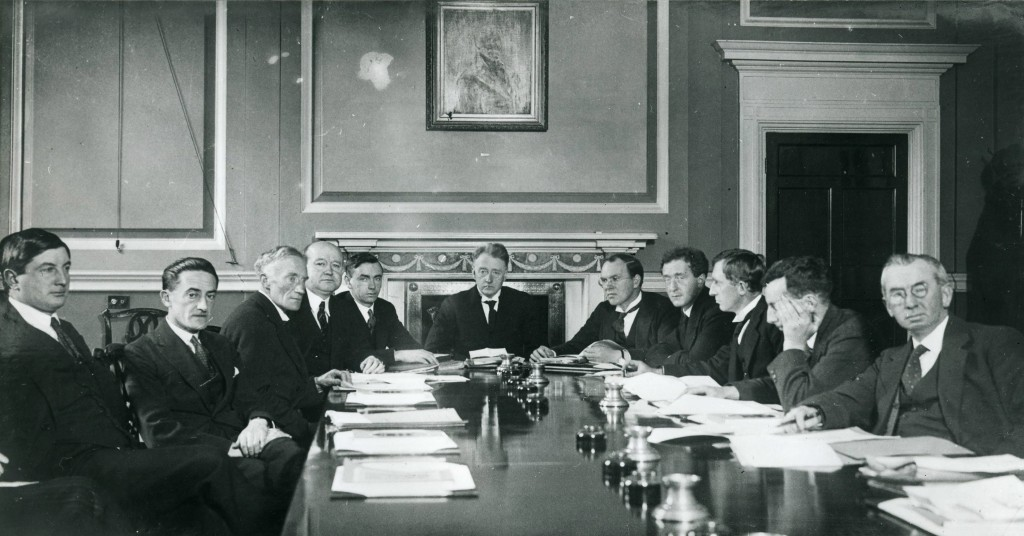 WT Cosgrave is in the centre, Ernest Blythe is to his right while Patrick Hogan is second from the right.