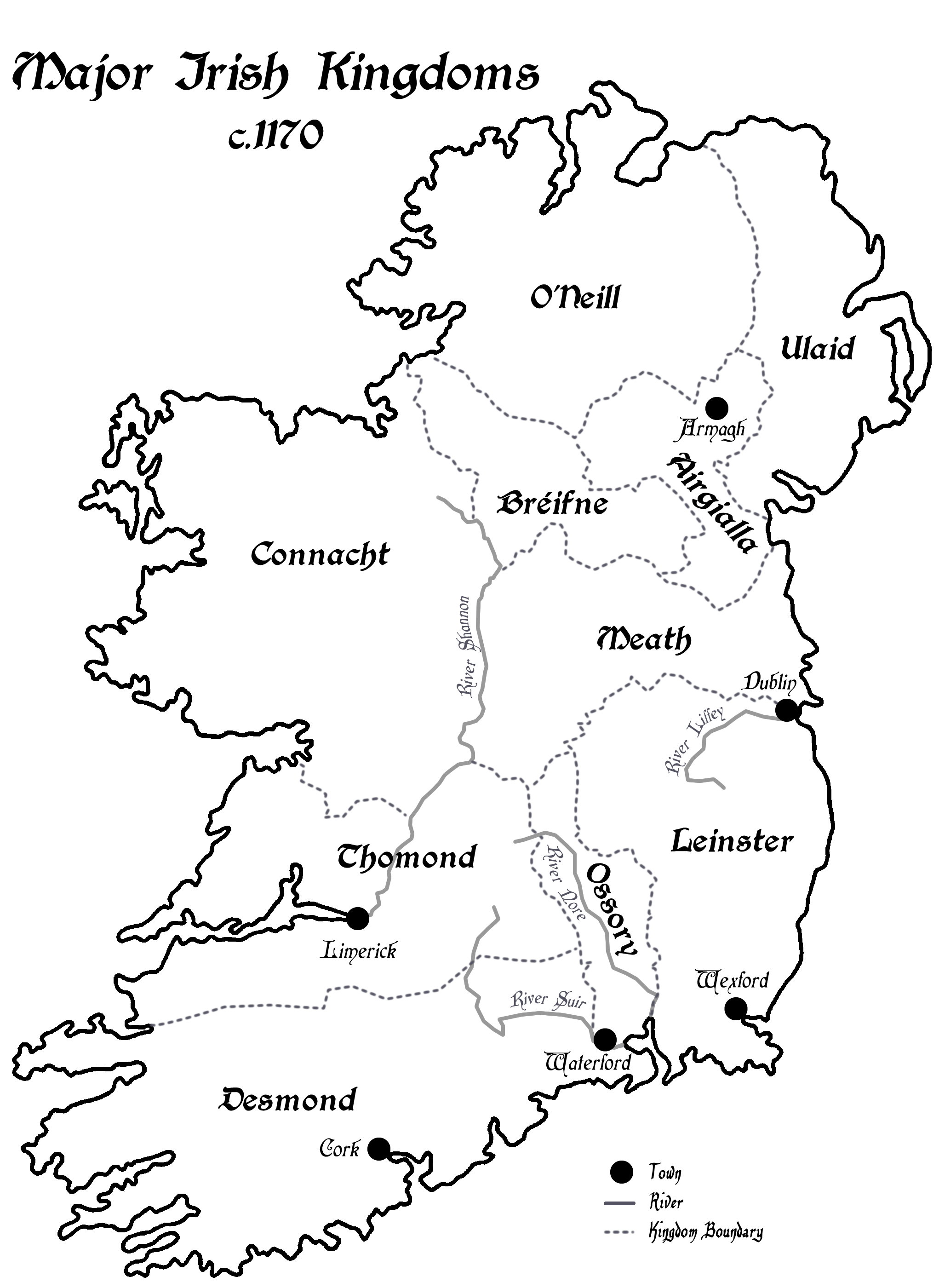 Map Of Ireland Leinster.A Map Of Ireland S Rival Kingdoms C 1170 Irish History Podcast